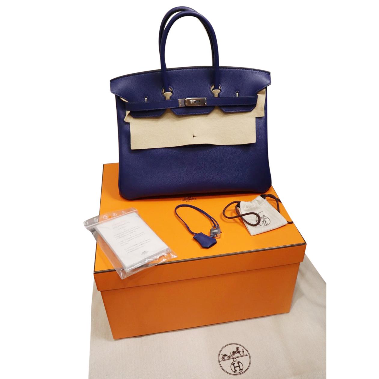 e61f639d80 Hermes Taurillon Novillo Blue Sapphire 35cm Birkin Bag | HEWI London