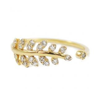 Lena Jewellery Yellow Gold 0.23ct Diamond Leaf Ring