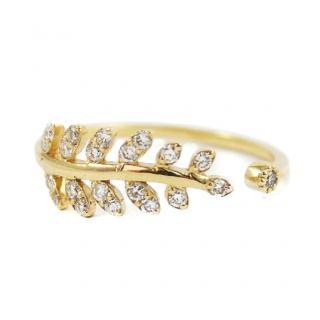 Lena Jewellery Yellow Gold 0.23ct Diamond Leaf Ring
