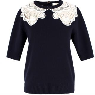 Chloe Wool & Cashmere-blend Crochet Detail Jumper