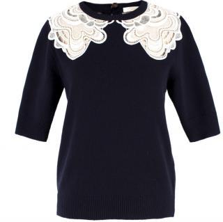 Chloe Wool & Cashmere-blend Crochet Detail Jumper