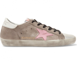 Golden Goose Deluxe Superstar glittered suede and leather trainers