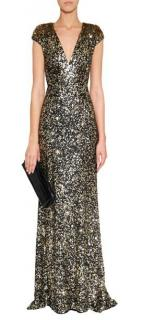 Jenny Packham Black & Gold Sequinned Silk Gown