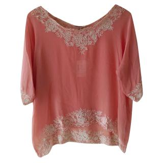 Mes Demoiselles rose embroidered silk chiffon top