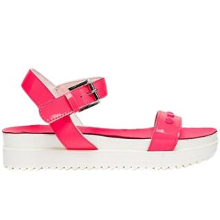 Love Moschino Fluro Fuchsia Patent Heart Detail Flat Sandals