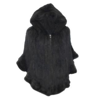 Bespoke Knitted mink poncho