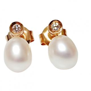 Akoya 6mm Pearl & Diamond Earrings 18ct Gold