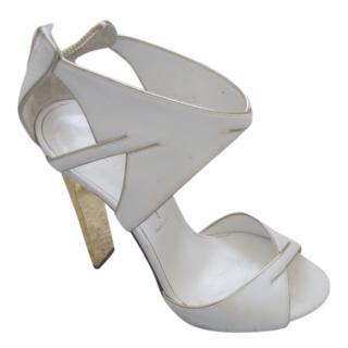 Casadei White & Gold Blade Heel Pumps