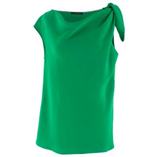 Caroline Herrera Green Tie Shoulder Top