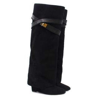 Givenchy Black Suede Shark Lock Boots