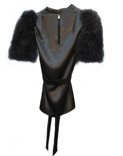 Maguy de Chadirac Marabou feather sleeves slip-on blouse