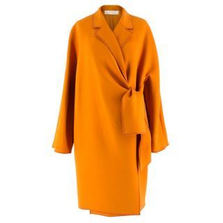 Victoria Beckham Orange Wrap Belted Coat