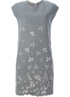 Ermanno Scervino Grey Wool Floral Applique Dress