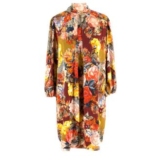 Dolce & Gabbana Red Floral Silk Dress