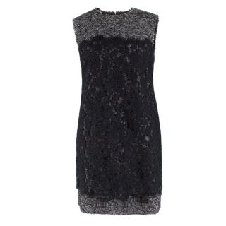 Dolce & Gabbana Sleeveless Tweed And Lace Shift Dress
