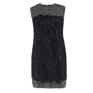 Dolce & Gabbana Sleeveless Tweed And Lace Shift Dress
