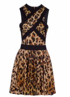 Balmain Leopard Print Crossover Mini Dress
