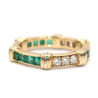 Cartier Vintage Diamond, Emerald & Gold Full Circle Eternity Ring