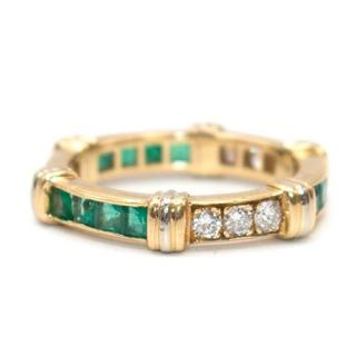 Cartier Vintage Diamond, Emerald & Gold Full Circle Eternity Ring