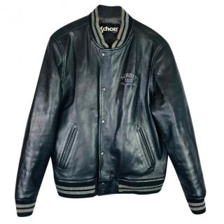 Schott NYC Leather Varsity Bomber Jacket