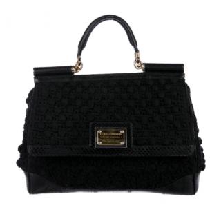 Dolce Gabbana Python-Trimmed Crochet Miss Sicily Bag