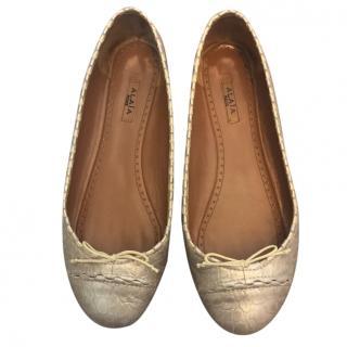 Alaia pink beige Crocodile Embossed Ballerina ballet Flats shoes sz36