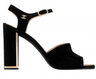 Chanel Grey Suede Block Heeled Sandals