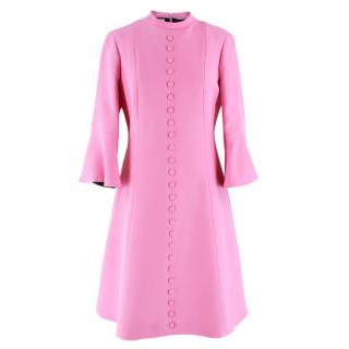 Gucci Pink Button Down Bell Sleeve Wool Dress