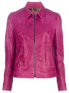 Dolce & Gabbana Hot Pink Leather Jacket
