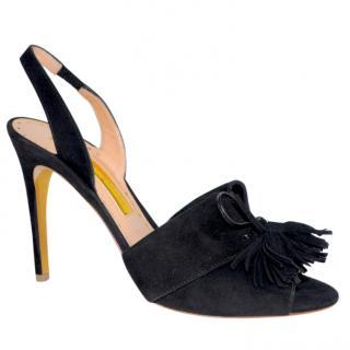 Rupert Sanderson Rethel Black Suede Heel Sandals