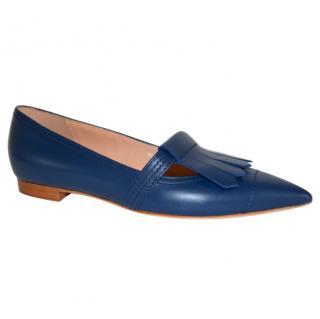 Rupert Sanderson Gretna Blue Leather Ballerina Shoes