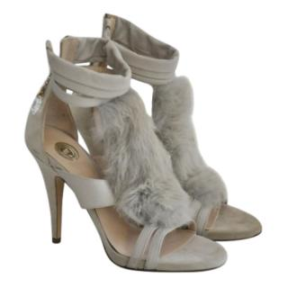 Elisabetta Franchi Suede & Fur Sandals