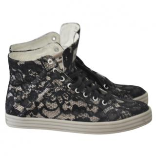 Hogan Satin & Black Lace Rebel trainers