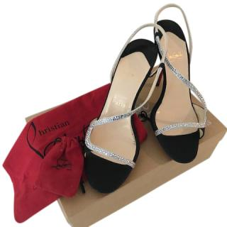 Christian Louboutin Alta Perla Strass 100 Crepe De Chine Sandals