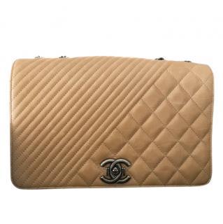 Chanel Beige Quilted Chevron Shoulder Bag