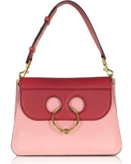 J.W. Anderson Crimson Red And Pink Bubblegum Leather Medium Pierce Bag
