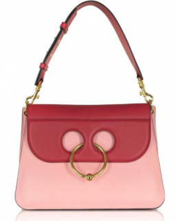 J.W. Anderson Crimson Red And Pink Bubblegum Leather Medium Pierce Bag