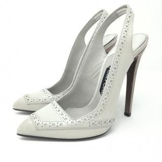 Tom Ford Pale Grey Lasercut Slingback Sandals