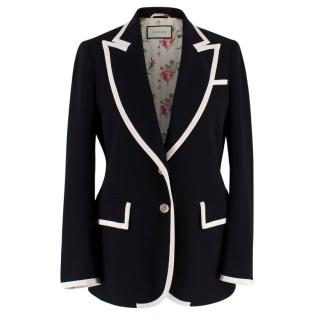 Gucci Black & White Stretch Cady Blazer