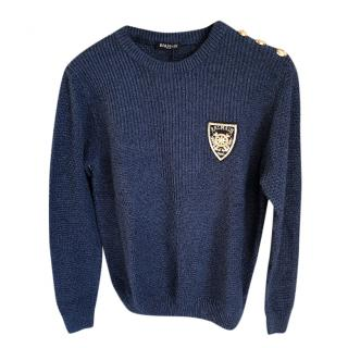 Balmain Blue Knit Jumper