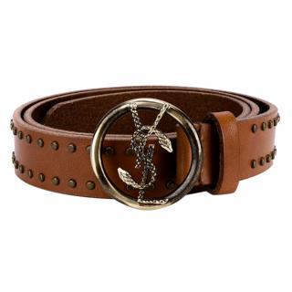 Saint Laurent round snake buckle studded belt