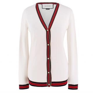 Gucci White Cardigan with Striped Trim