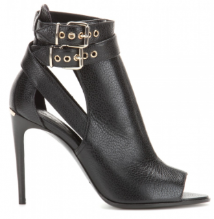 Burberry Black Acoustic Overfield Leather Peep-toe Ankle Boots