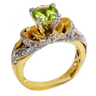 Bespoke Peridot & Diamond Solitaire Ring 18ct Gold