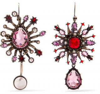 Alexander McQueen pink crystal and faux pearl earrings