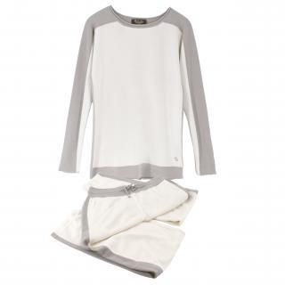 Loro Piana White Cashmere Sweatpant and Jumper Set