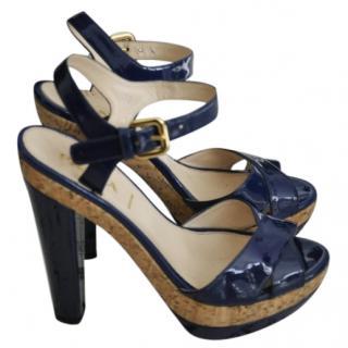 Prada patent navy blue leather sandals