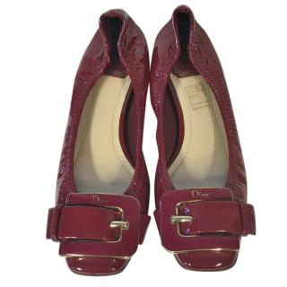 Dior patent leather burgundy flats