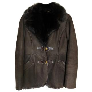 Gucci dark brown leather shearling lined coat