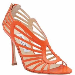 Jimmy Choo Orange Leather Caged Sandals